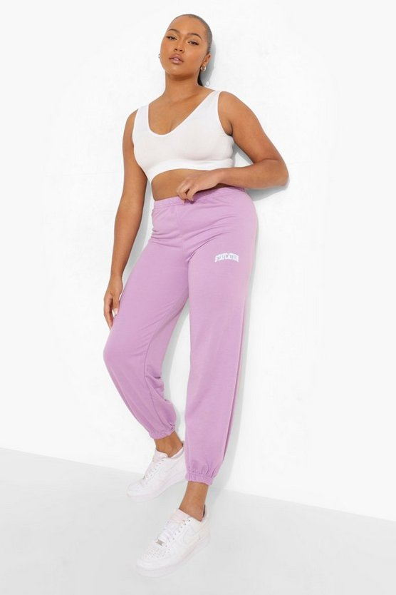 Womens Plus Staycation Slogan Jogginghose - Flieder - 46