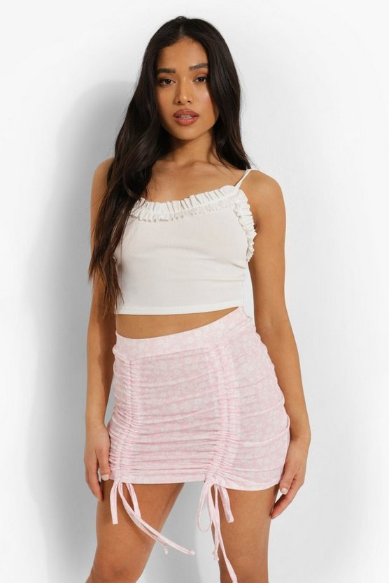 Womens Petite Ditsy Floral Ruched Mini Skirt - Pale Pink - 42