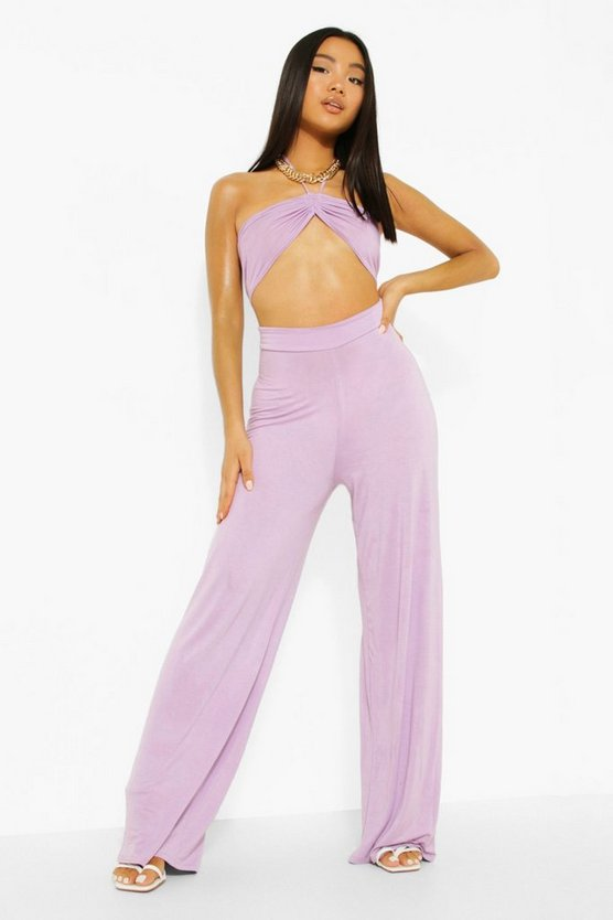 Womens Petite Cut-Out Jumpsuit Mit Weitem Bein - Lilac - 40