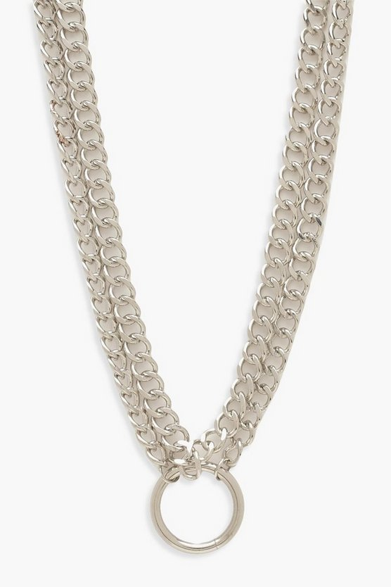 Womens Plus Recycelter Choker Mit O-Ring-Detail - Silver - One Size