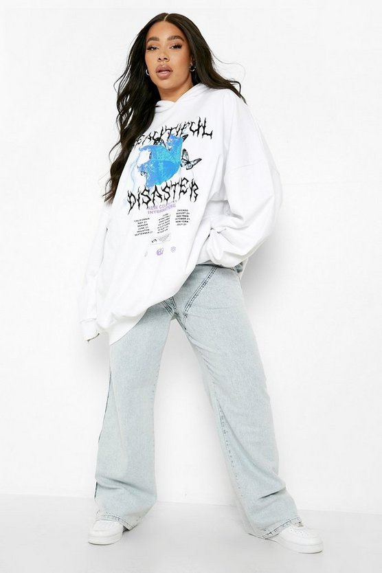 Womens Plus Extreme Oversized Printed Hoodie - White - 46