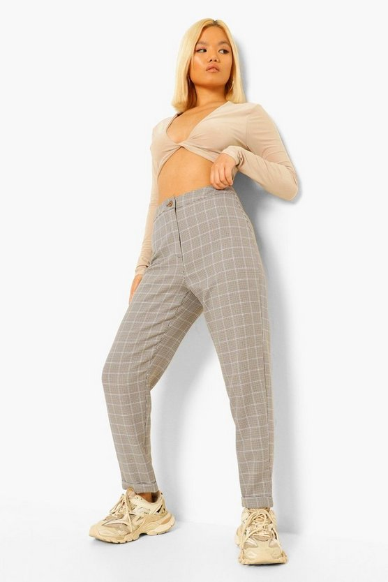 Womens Petite Check Tapered Trousers - Black - 40
