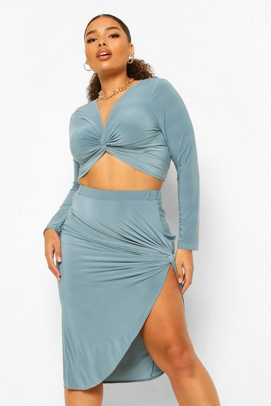 Womens Plus Soft Touch Side Knotted Midi Skirt - Petrol - 46