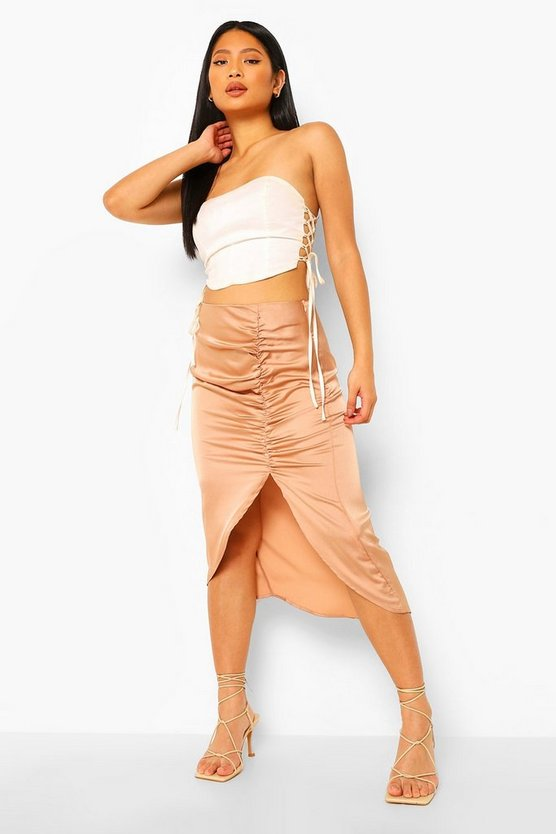 Womens Petite Satin Ruched Front Midi Skirt - Nude - 40
