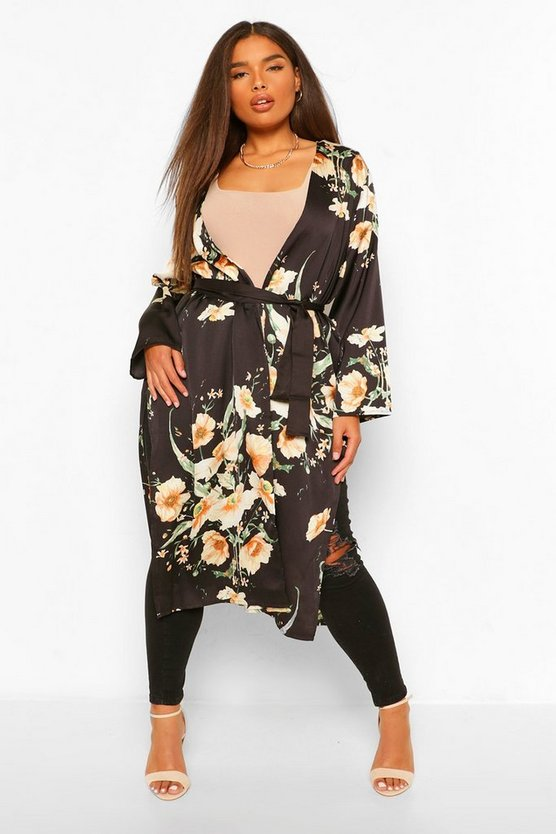 Womens Plus Dark Floral Satin Midi Kimono - Black - 46
