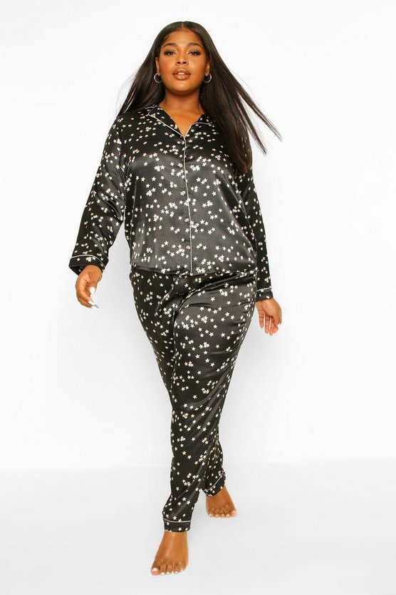 Womens Plus Star Print Satin Pj Trouser Set - Black - 46