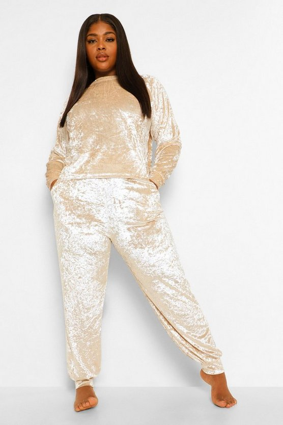 Womens Plus Crushed Velvet Tracksuit - Champagne - 52