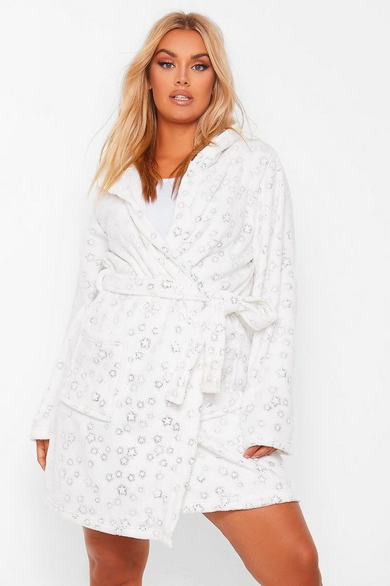 Womens Plus Glitter Star Fluffy Dressing Gown - Ivory - 44