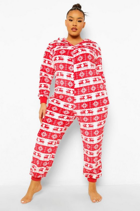 Womens Plus Fairisle Onesie - Red - 46