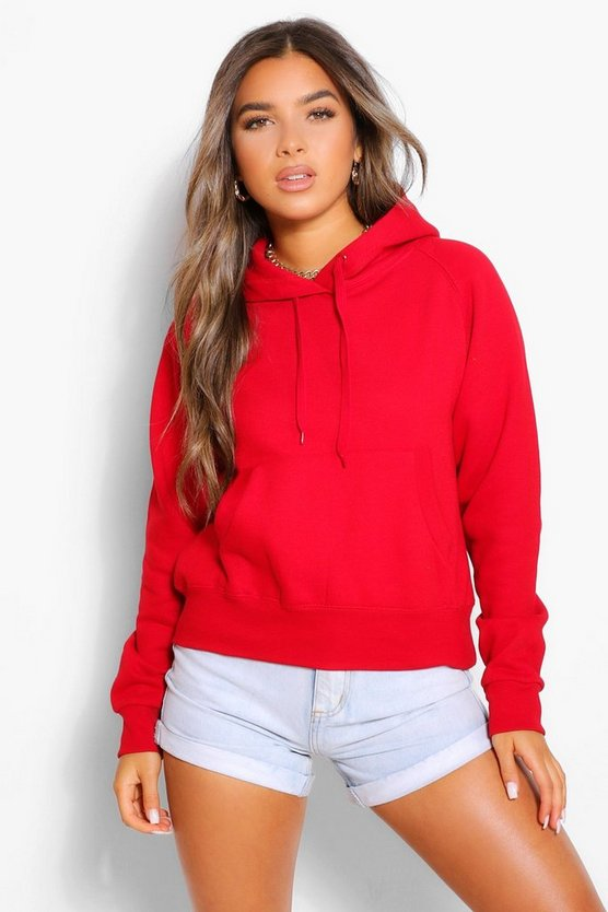 Womens Petite Basic Hoodie - Red - Xl/Xxl