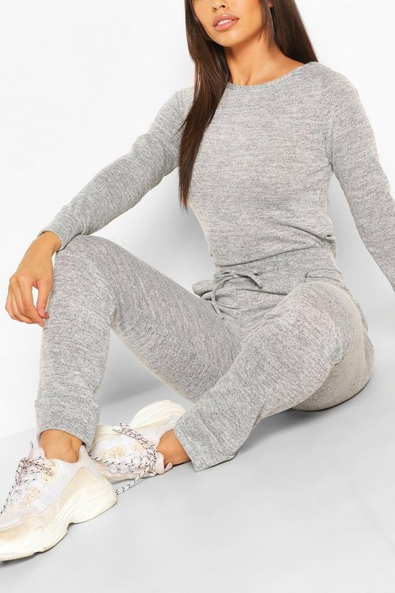Womens Petite Lounge-Set Aus Leichter Strick-Jogginghose Und Crop Top - Grau Meliert - 30
