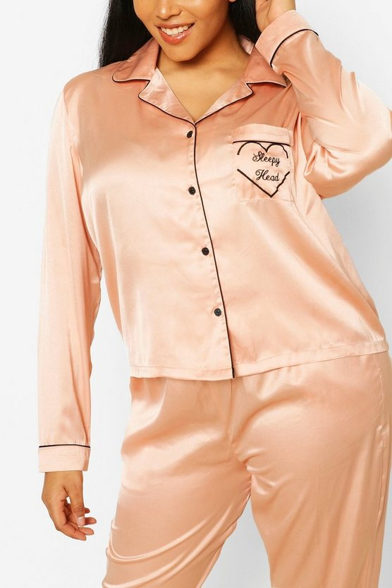 "Womens Plus Pyjama Aus Satin Mit ""Sleepyhead""-Print Und Hose - Rose Gold - 52"