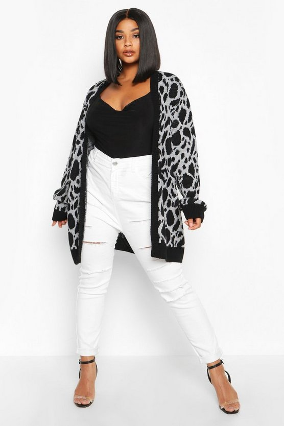 Womens Plus Cardigan Aus Jacquard Mit Animal-Print - Grau - 24/26