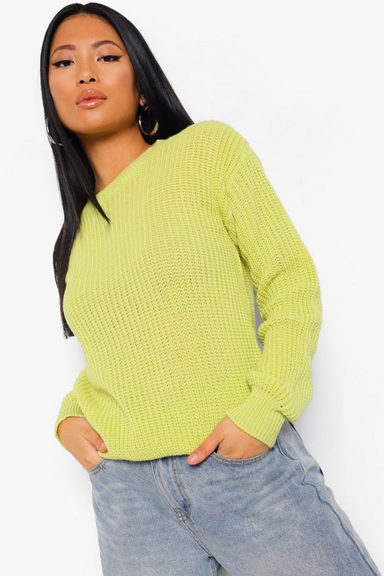 Womens Petite - Oversized Pullover - Chartreuse - 40