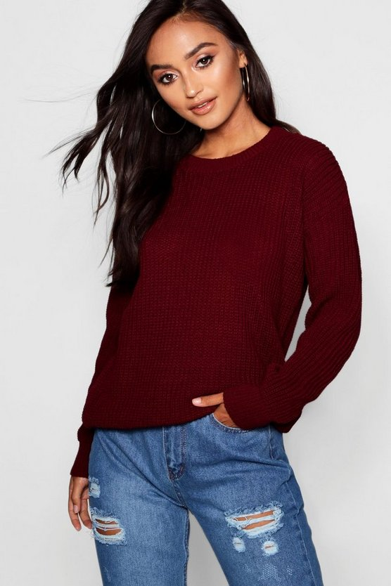 Womens Petite - Oversized Pullover - Weinrot - 40