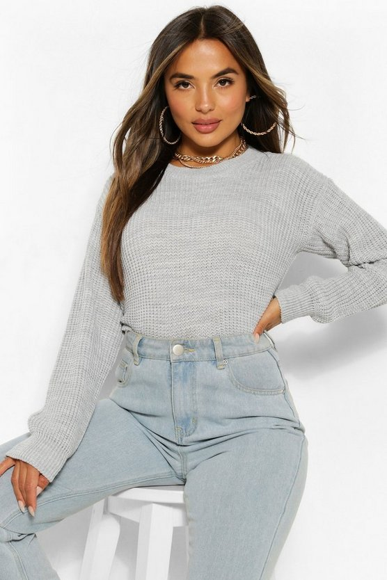 Womens Petite Oversized Pullover - Grey - 40
