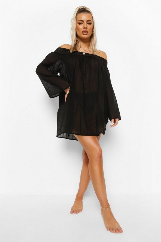Womens Linen Look Off Shoulder Beach Dress - Black - 34