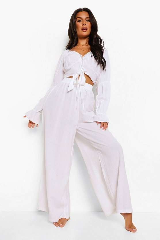 Womens Drawstring Waist Wide Leg Beach Trousers - Ivory - S