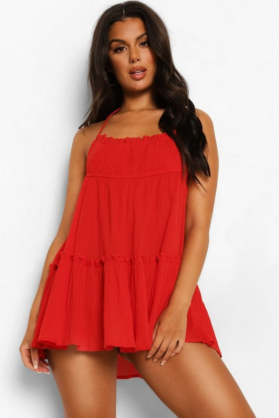 Womens Crinkle Cotton Halter Neck Beach Dress - Red - M