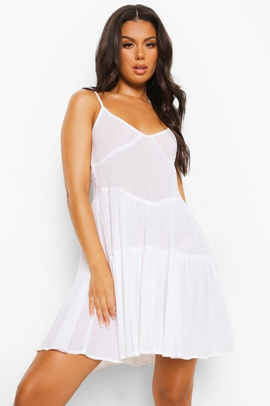 Womens Crinkle Cotton Tie Strap Tiered Beach Dress - White - M