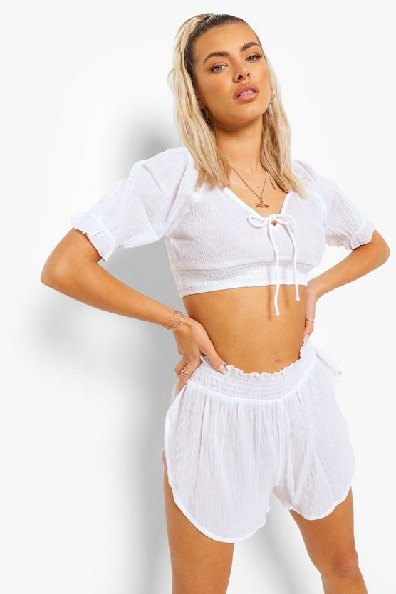 Womens Crinkle Cotton Beach Top & Shorts Co-Ord Set - White - M