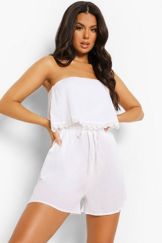 Womens Crinkle Cotton Over Layer Beach Playsuit - White - M