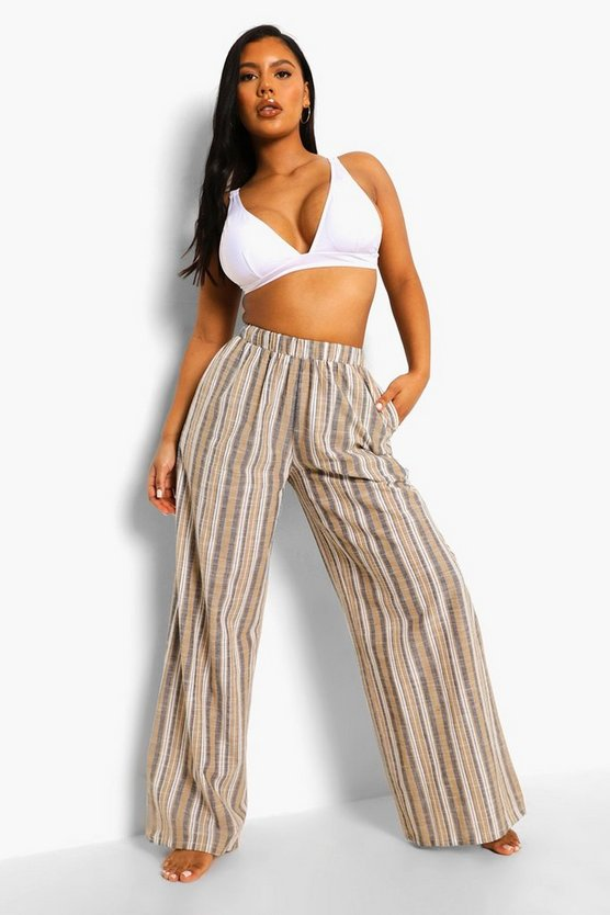 Womens Striped Linen Wide Leg Beach Trousers - Light Stone - M