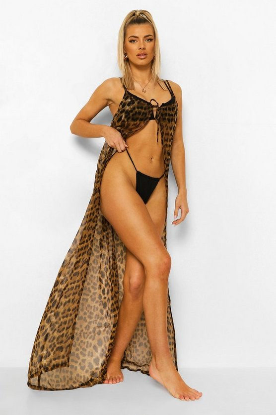 Womens Tie Front Leopard Chiffon Open Beach Dress - 40
