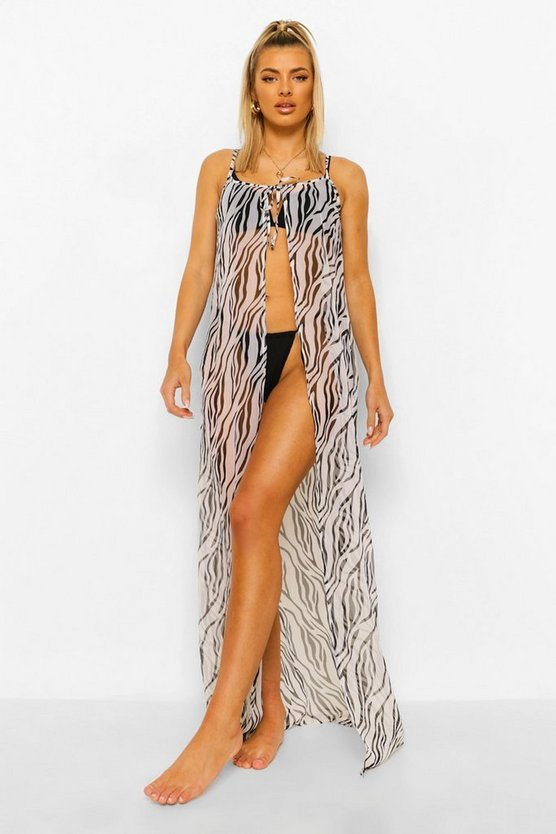 Womens Tie Front Zebra Chiffon Open Beach Dress - 42
