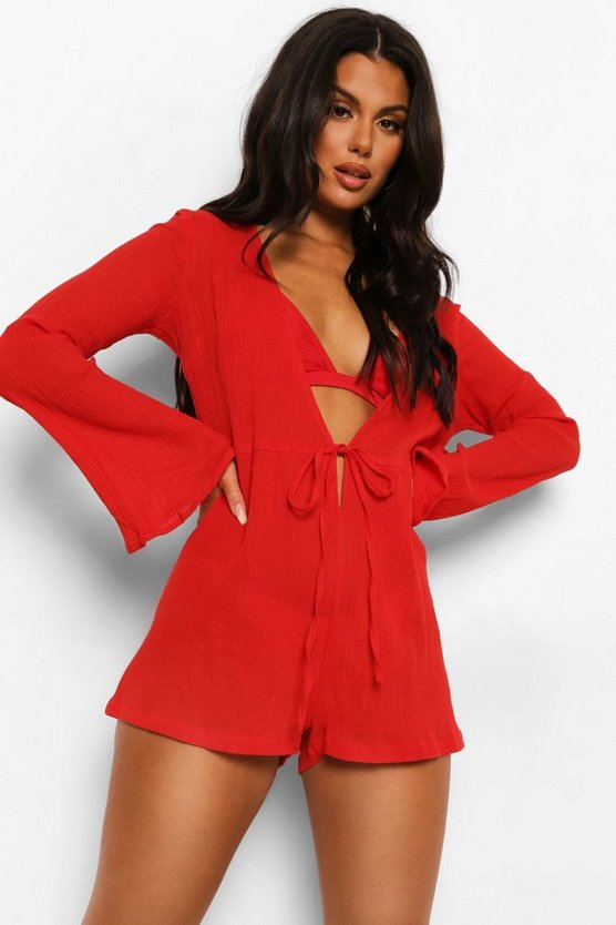Womens Crinkle Cotton Flared Sleeve Beach Playsuit - M