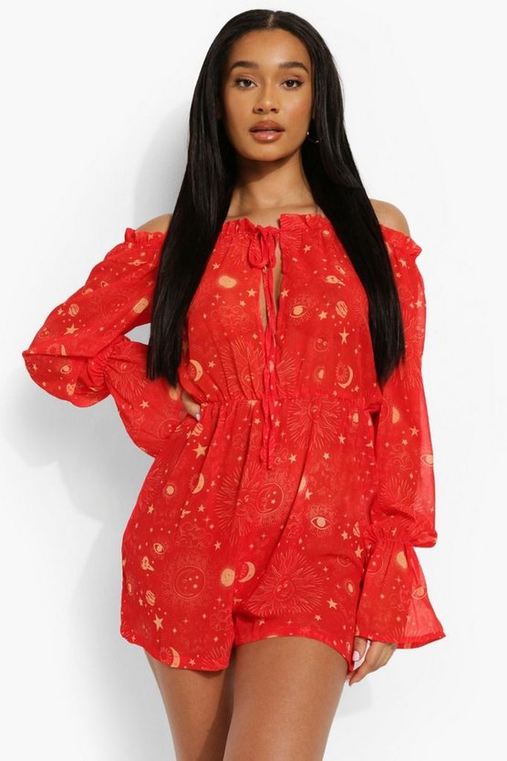 Womens Constellation Print Beach Playsuit - Red - M