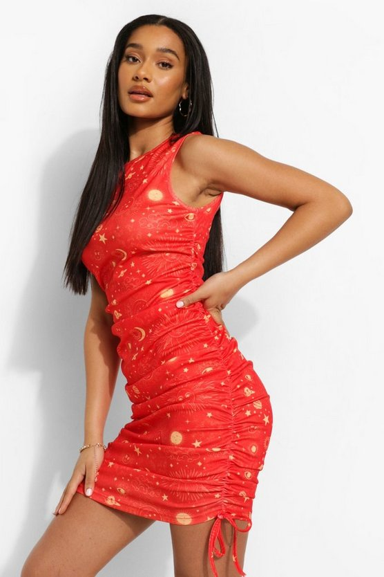 Womens Constellation Print Ruched Beach Mini Dress - Red - M