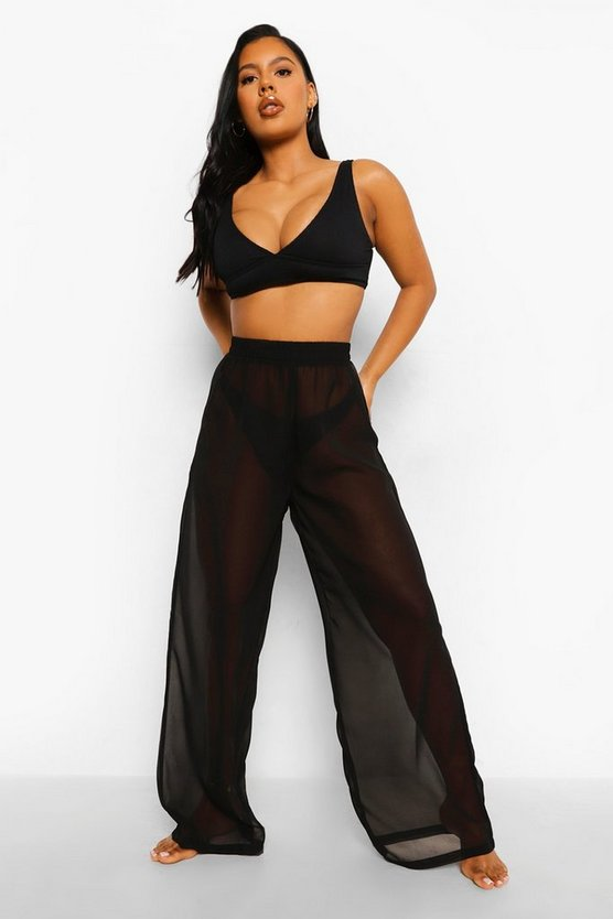 Womens Chiffon Wide Leg Beach Trousers - Black - M