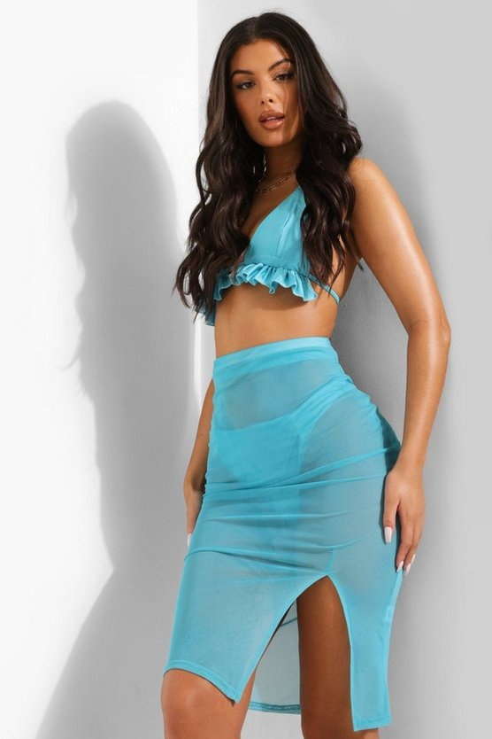 Womens Tropicana High Split Mesh Beach Midi Skirt - Turquoise - M