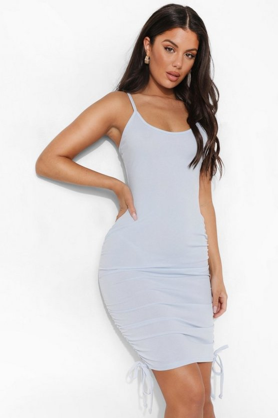 Womens Rib Drawstring Side Beach Dress - Powder Blue - M