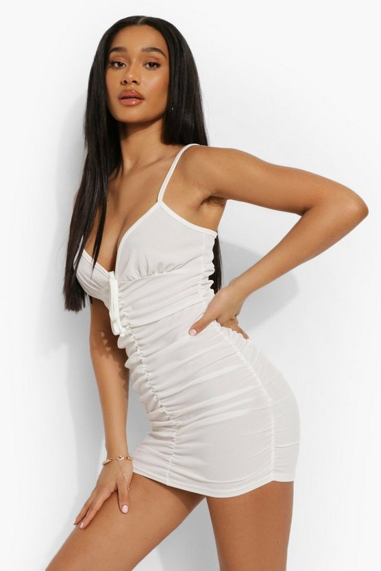 Womens Rib Ruched Plunge Beach Dress - White - M