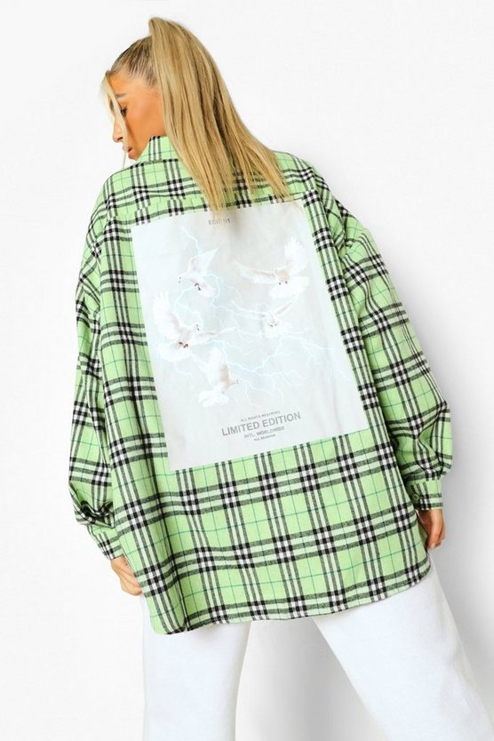 Womens Tall Graphic Back Checked Shirt - Green - 42