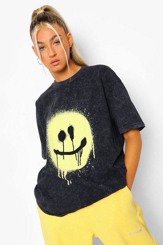 Womens Tall Acid Wash Spray Face T-Shirt - Charcoal - M