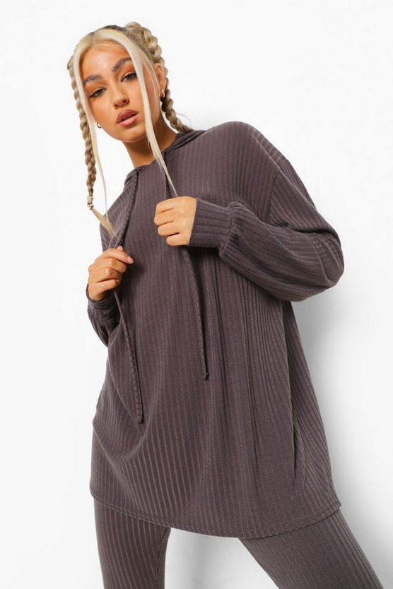 Womens Tall Gerippter Lounge-Hoodie - Anthrazit - 44