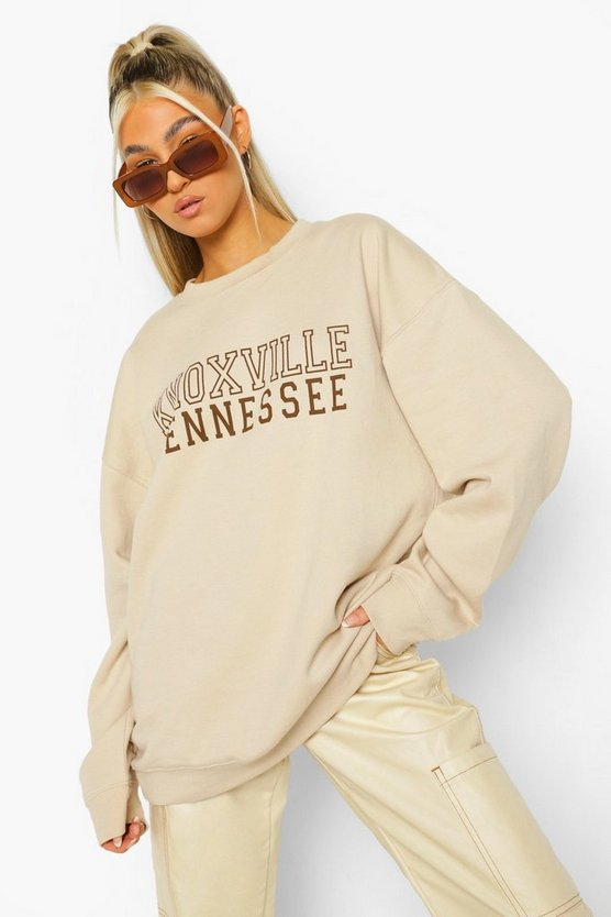 "Womens Tall Sweatshirt Mit ""Knoxville""-Print - Sand - S"