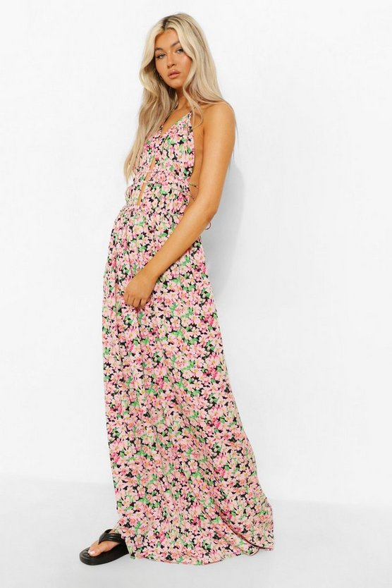 Womens Tall Floral Plunge Front Maxi Dress - Green - 42