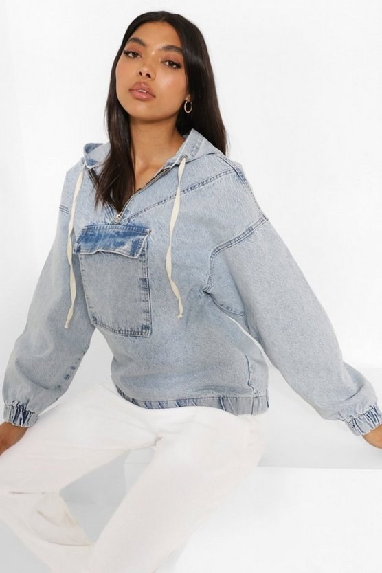 Womens Tall Jeansjacke Mit Kapuze In Pullover Form - Vintage-Waschung - 42