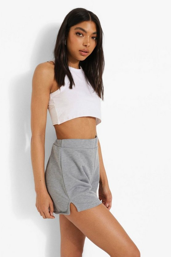 Womens Tall Loopback Side Split Runner Shorts - Grey Marl - 44