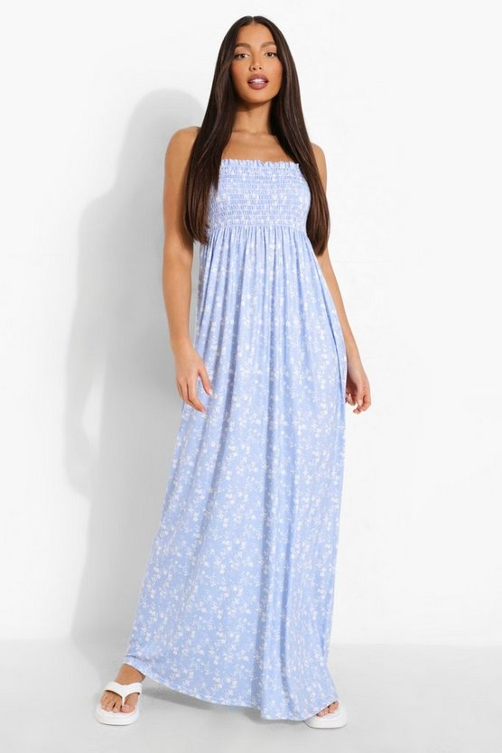 Womens Tall Ditsy Floral Shirred Bandeau Maxi Dress - Baby Blue - 36