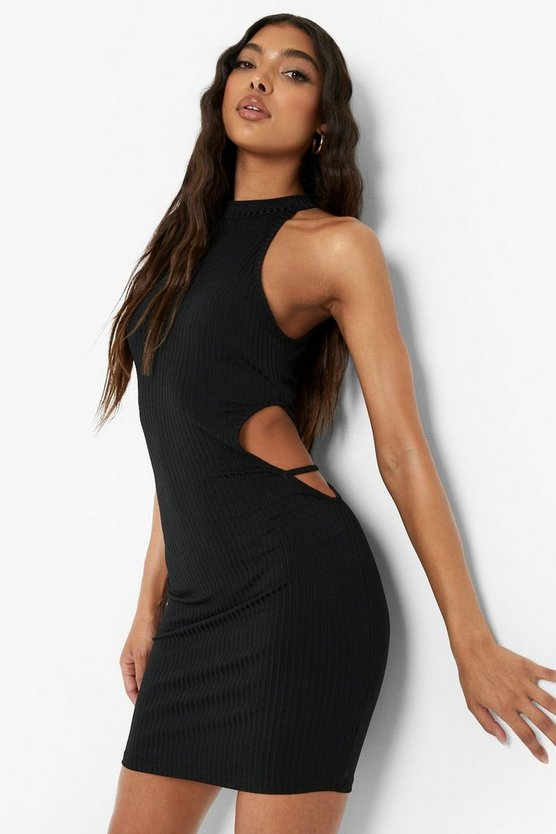 Womens Tall Recyceltes Cut-Out Minikleid - Black - 44