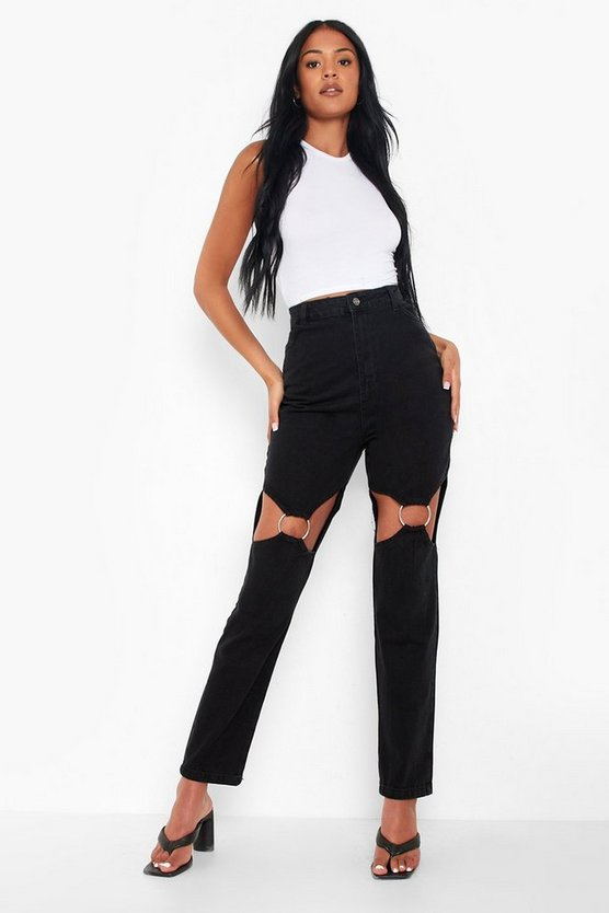 Womens Tall Cut-Out Mom-Jeans Mit O-Ring - Black - 44