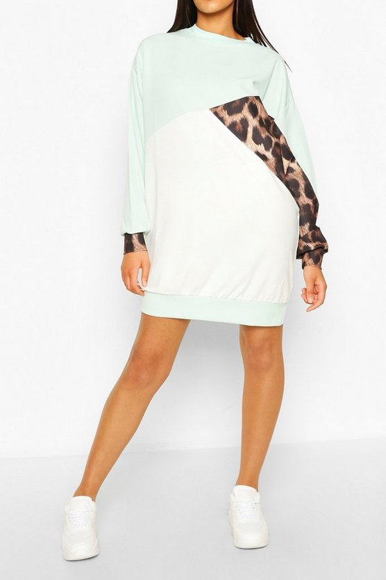 Womens Tall Colorblock-Sweatkleid Mit Leopardenmuster - Mint - 40