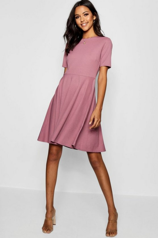 Womens Tall Kurzärmeliges Skater-Kleid - Hellviolett - 36