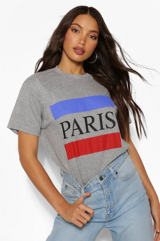 Womens Tall T-Shirt Mit Paris-Slogan - Grey - S